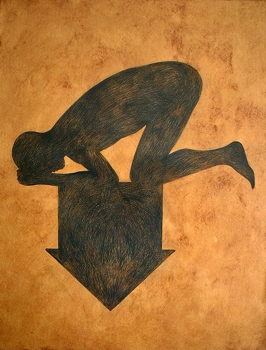 Falk Nordmann: b_hau-{ptung}-{sung}. schwarze kreide & asche auf papier, 147×112 cm, 2010