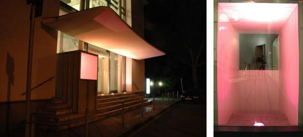 Joung-en Huh: SUITE, Künstlerverein Malkasten Düsseldorf. Holz, Tapete, 200 x 130 x 300 cm, 2007 (Ansichten bei Tag & Nacht)
