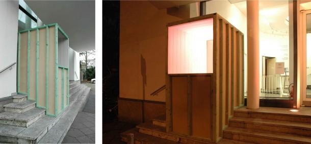 Joung-en Huh: SUITE, Künstlerverein Malkasten Düsseldorf. Holz, Tapete, 200 x 130 x 300 cm, 2007 (Ansicht bei Tag )