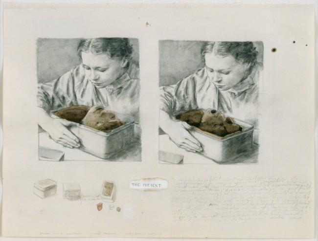 Michael Borremans: The-Present, 2001, Kreide, Aquarell und weiße Tinte auf Papier, 207 x 273 cm © Zeno X Gallery Antwerpen