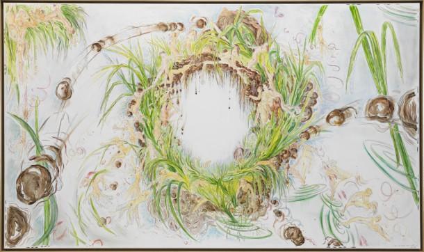 Sonja Alhäuser | Scheide sanft. Papier (Acryl, Aquarell, Bleistift) kaschiert auf Sonja Alhäuser: Scheide sanft. Papier (Acryl, Aquarell, Bleistift) kaschiert auf Leinwand 130×220 cm, 2009