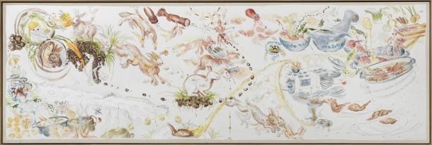 Sonja Alhäuser: Heimathase-scharf. Acryl, Aquarell, Bleistift (Arbeit auf Papier), 95×300 cm, 2008