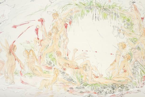 Sonja Alhäuser: Milch- und Traubenfest. (OBEN: Gesamtansicht, UNTEN: Detailansicht) Papierarbeit auf Leinwand (Bleistift, Aquarell, Acryl), 60×200 cm, 2010