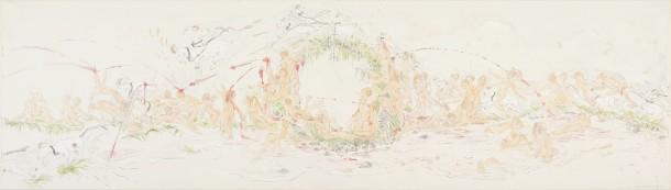 Sonja Alhäuser: Milch- und Traubenfest. Gesamtansicht Papierarbeit auf Leinwand (Bleistift, Aquarell, Acryl), 60×200 cm, 2010