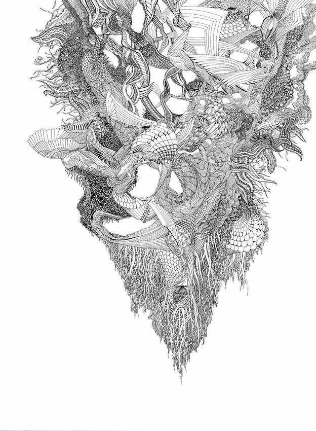 Angelika Arendt:  o. T., Fineliner und Gouache auf Papier, 2011