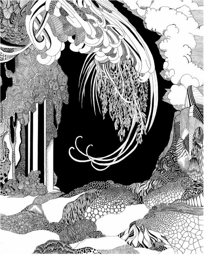 Angelika Arendt:  o. T., Fineliner und Gouache auf Papier, 30 x 24 cm, 2012