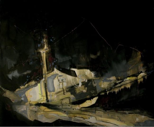 Thorsten Dittrich: Erlebnisraum. Öl auf Papier. 48×56, 2012