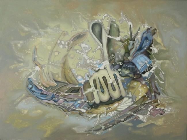 Thorsten Dittrich: Neuronensturm. Öl auf Leinwand. 60x80cm, 2011
