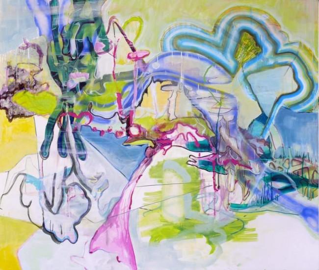 Wolf Raskin: OM IV 89 103. Öl , Sprühlack auf Leinwand, 180 x 210 cm, 2011