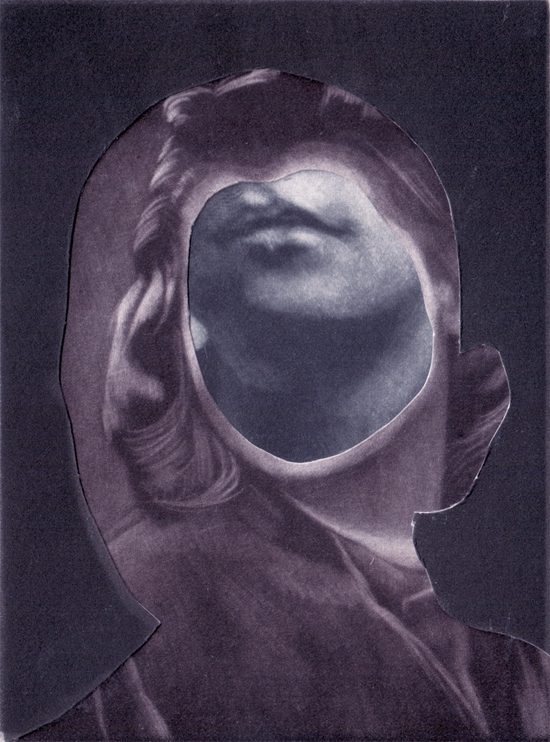 Majla Zeneli: untitled, collage with mezzotint prints, 16,3 x 11,5 cm (12,3 x 9,2 cm), 2013 © Majla Zeneli